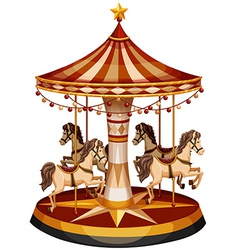 A merry-go-round with brown horses vector