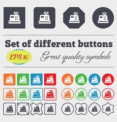 Cash register icon sign big set of colorful vector