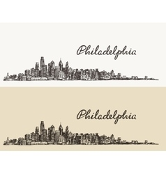 Philadelphia skyline hand drawn sketch vector