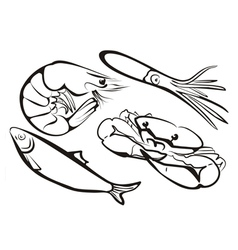 Sea food collection in simple black lines vector