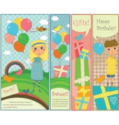 Kids party and birthday banners vector