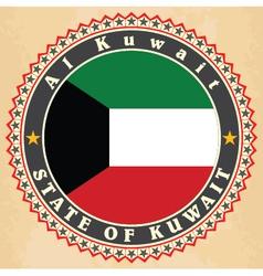 Vintage label cards of kuwait flag vector