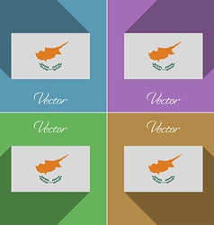Flags cyprus set of colors flat design and long vector