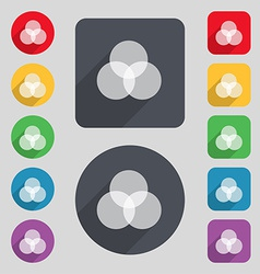 Color scheme icon sign a set of 12 colored buttons vector