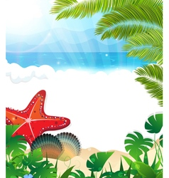 Tropical beach with cockleshells and starfishes vector