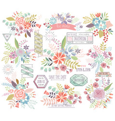 Romantic floral hand drawn set vector