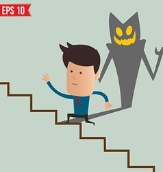 Business man running on the stair - - eps10 vector