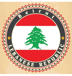 Vintage label cards of lebanon flag vector