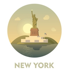 Travel destination new york icon vector