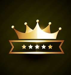 Golden crown badge design with stars vector