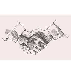 Drawing shake hands partnership sketch vector