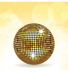 Sparkling gold disco ball vector