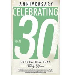 30 years anniversary retro background vector
