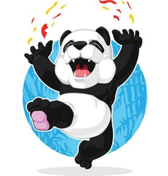 Panda jumping in excitement vector