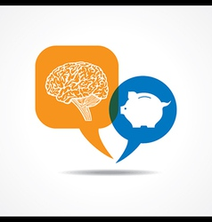 Brain and piggy bank in message bubble vector
