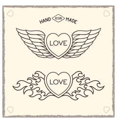 Love heraldic icons vector
