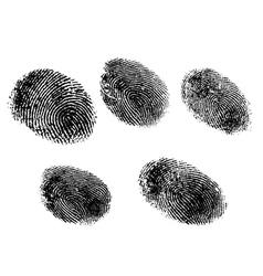 5 black and white fingerprints vector