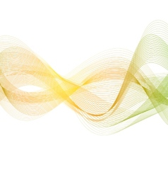 Orange green smooth lines wavy background vector