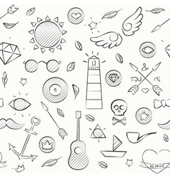 Hand drawn hipster seamless pattern over white vector
