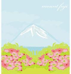 Fuji and morning sunrays landscape vector