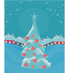 Christmas night and christmas tree in the village vector