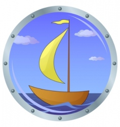 Ship in a window vector
