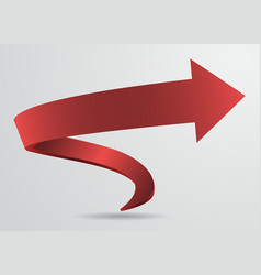 3d red spiral arrow pointer sign abstract vector