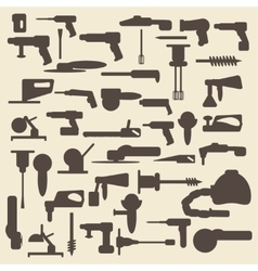 Electric construction tools silhouette icons set vector