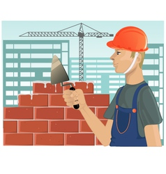 Builder with trowel vector