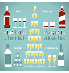 Set of alcohol bottles vector