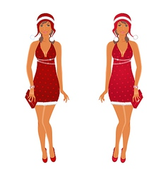 Two christmas beautiful girls isolated vector