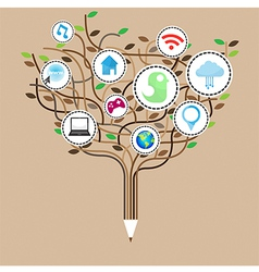 Social network education concept pencil tree vector