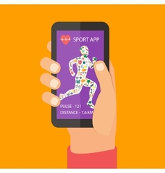 Sport fitness app concept on touchscreen vector