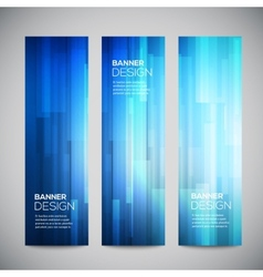 Blue low poly vertical banners set with vector