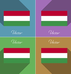 Flags hugary set of colors flat design and long vector