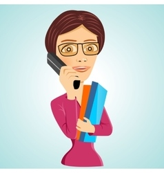 Teacher with glasses and folders vector