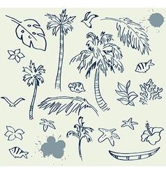 Collection of beach doodles vector