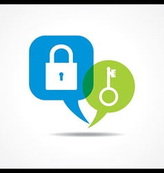 Lock and key in message bubble vector
