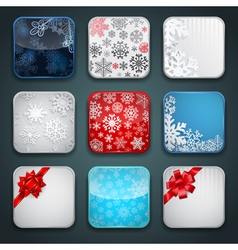Apps christmas icon set vector