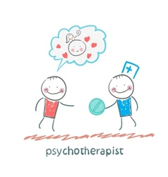 Psychotherapist gives the patient a pill vector