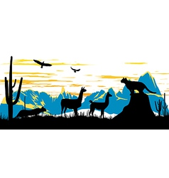 Wild panther llama and eagles in the morning vector