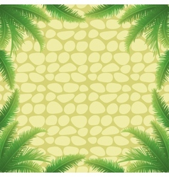 Palm leaves and stone wall vector