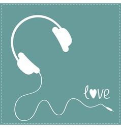 White headphones with cord blue background vector