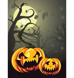 Scary pumpkins in forest vector