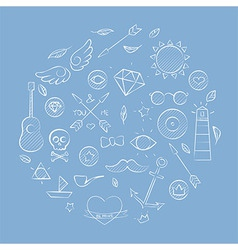Hand drawn set of hipster elements over blue vector