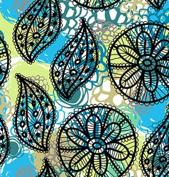 Lace seamless pattern with flowers and leaves blue vector