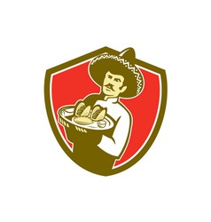 Mexican chef cook serving taco plate shield vector