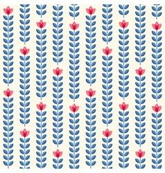 Retro floral pattern geometric seamless flowers vector