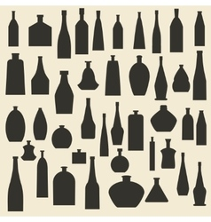 Different bottle types silhouette icons set vector