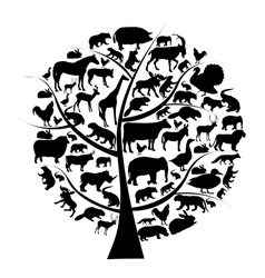 Set of animals silhouette on tree vector
